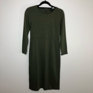 J. Crew Petite Green Knit Sheath Midi Dress NWT